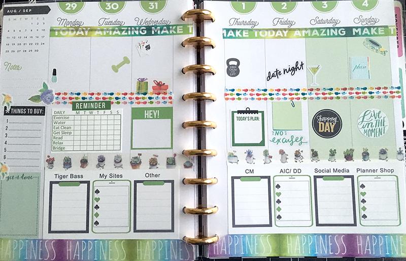 Green Happy Planner Spread